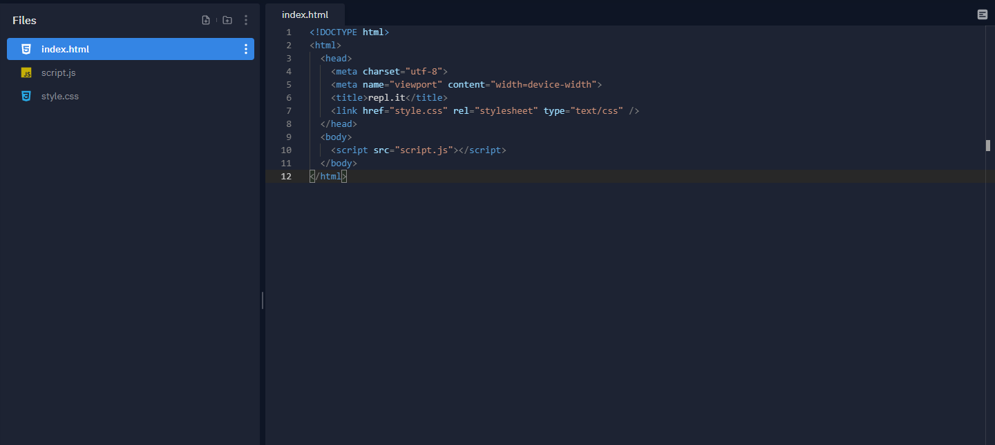 Repl.it Home Screen for HTML Language